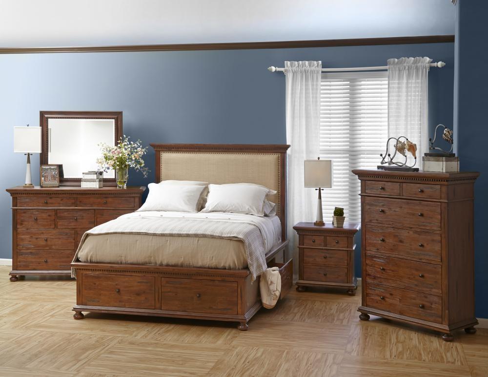 Geneva hills queen slats and storage rails complete beds for Pruitts bedroom sets