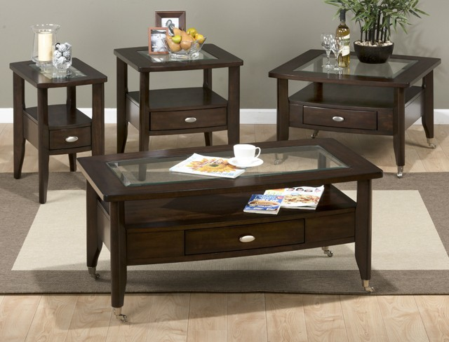 Chairside Table W/drawer and Glass Insert