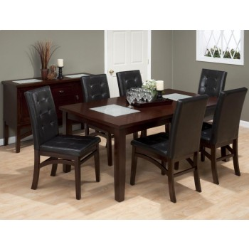 Rectangle Extension Table W/2 Crackled Glass Inserts