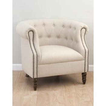 Grace Tufted Club Chair- Natural