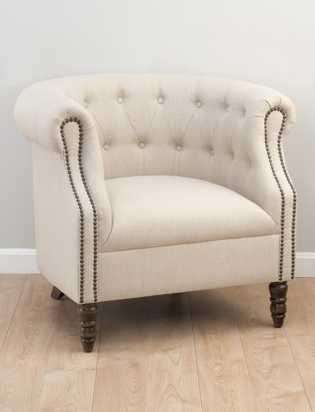 Genial Grace Tufted Club Chair  Natural