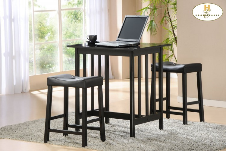3 Piece Pack Counter Height Set Black Table 32 X 24 X 34h Stool