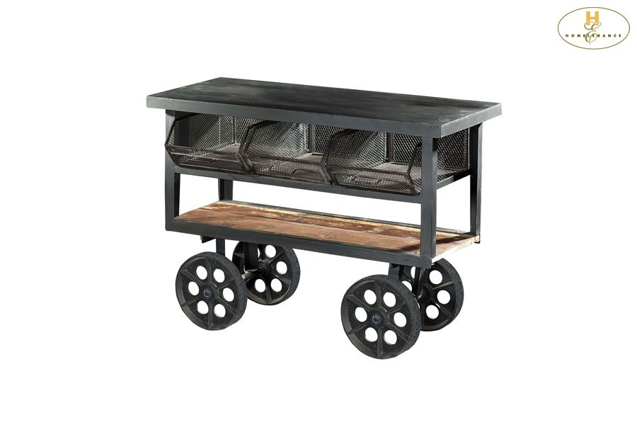 Iron Kitchen Cart with Functional Wheels