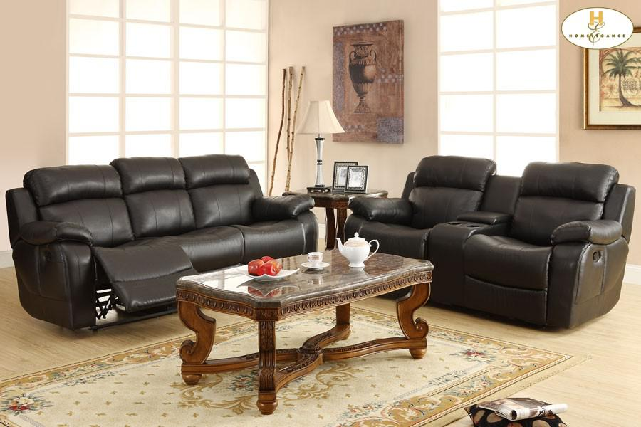 Double Reclining Sofa With Center Drop Down Cup Holders 9724blk3