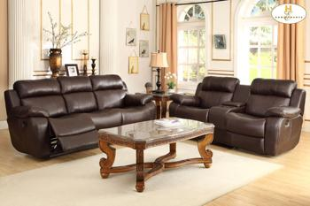 Double Reclining Sofa With Center Drop Down Cup Holders 9724brw3