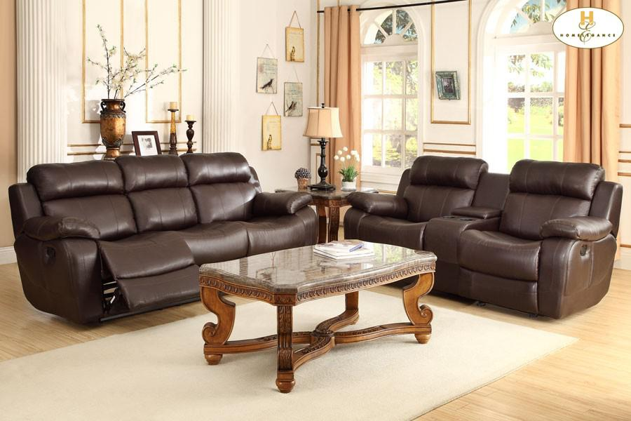 Delicieux Double Reclining Sofa With Center Drop Down Cup Holders