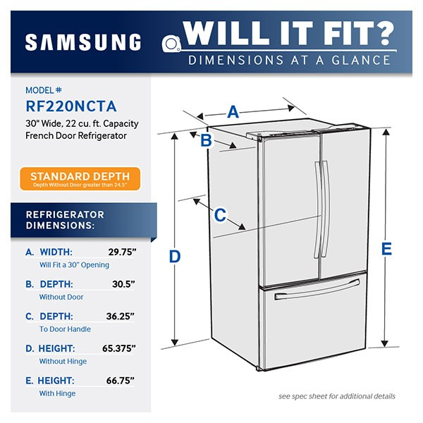 Samsung 30 Wide 22 Cu Ft French Door Refrigerator Stainless