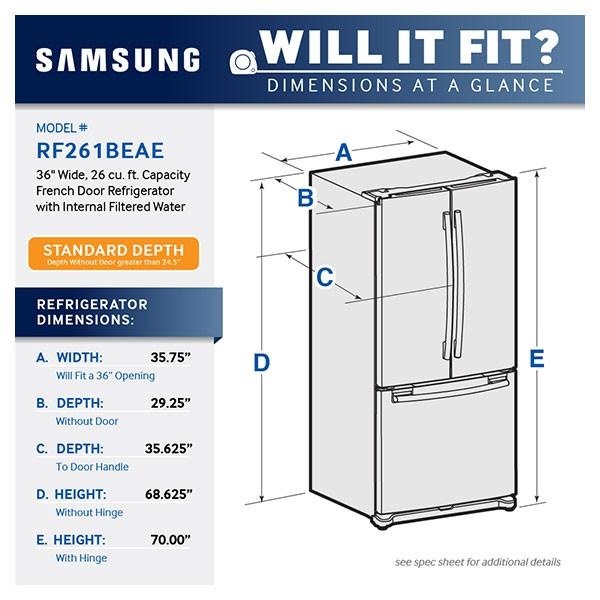 Samsung 36 Wide 26 Cu Ft French Door Refrigerator With Internal