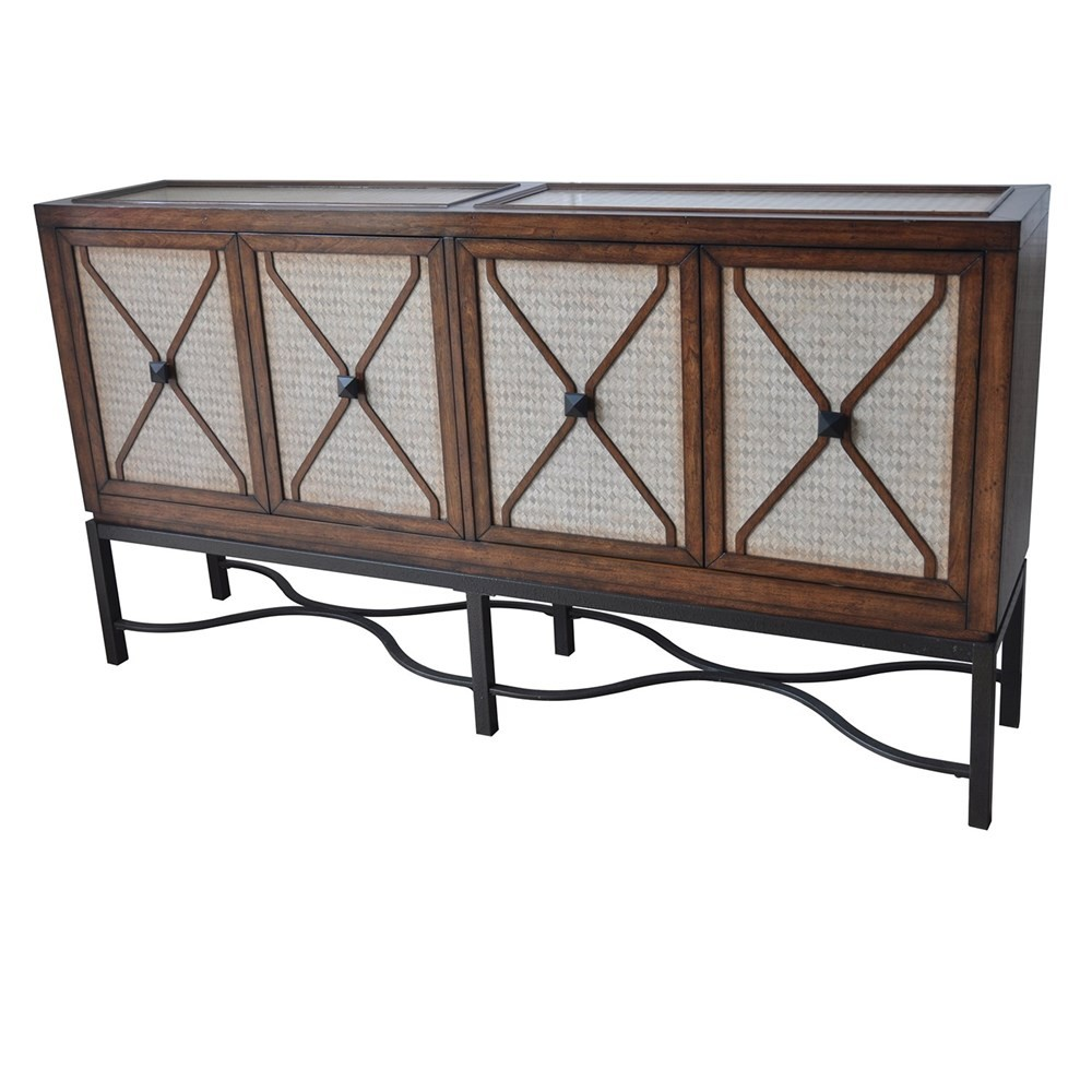 CRESTVIEW COLLECTIONS St. Charles 4 Door Harlequin Pattern Sideboard With  Metal Base