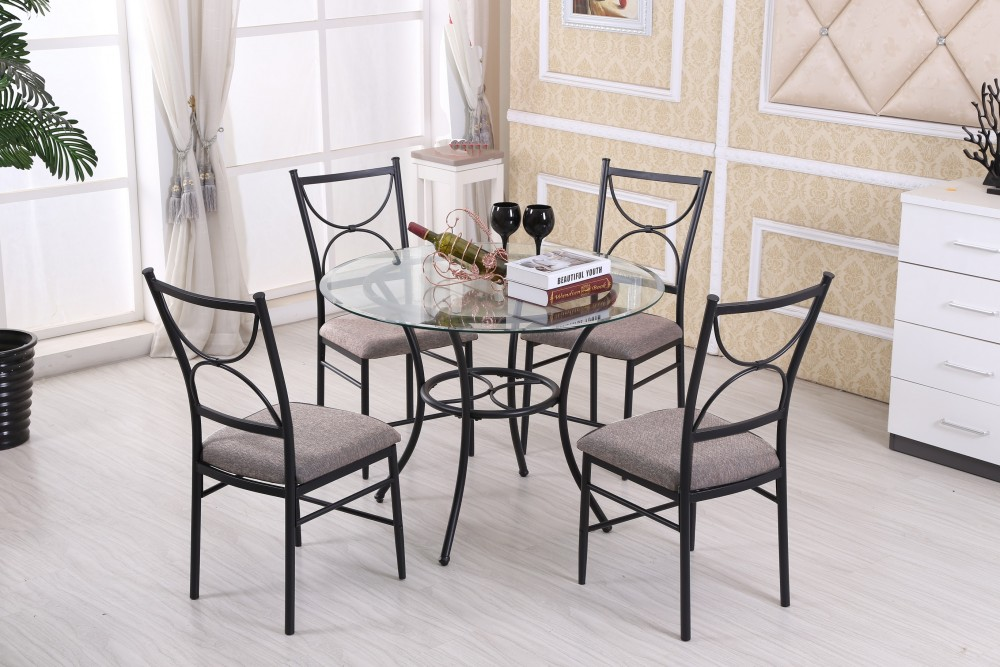 Glass Top Table And 4 Chairs D1030 Cecil Dining Room Groups Price Busters Furniture