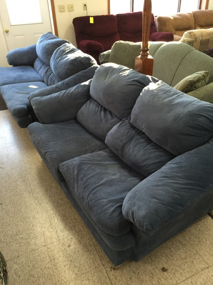 Blue Microfiber Sofa and Loveseat