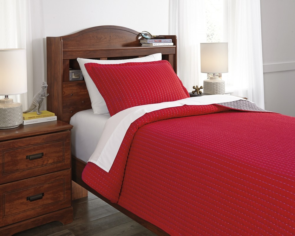 Dansby - Red/Gray - Twin Coverlet Set