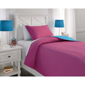 Dansby - Magenta/Aqua - Twin Coverlet Set