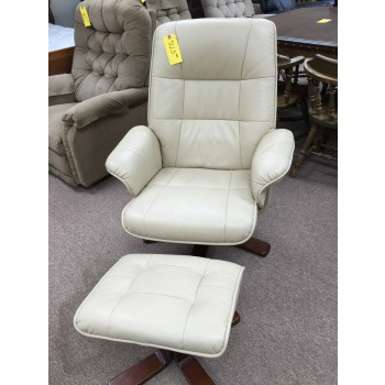 Cream Swivel Chair and Ottoman