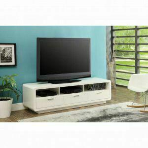 Acme Randell Tv Stand 91300 White For Flat Screens Tvs Up To 60 91300 Tv Stand Leslie S Furniture