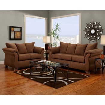 Aruba chocolate sofa and loveseat 6700arubachoc living - Cheap living room furniture packages ...