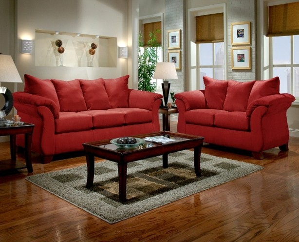 Sensations Red Brick Sofa and Loveseat