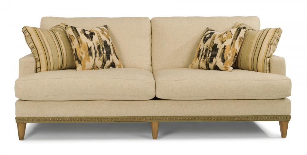 Attrayant Ocean Fabric Sofa With Nailhead Trim