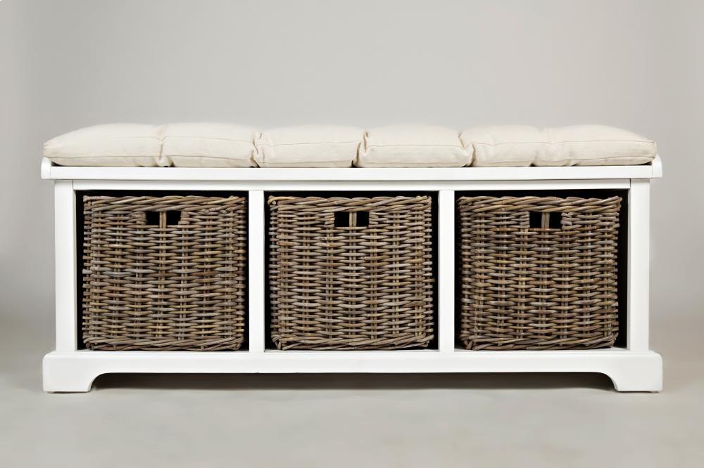 Natural Origins Chatham White Storage Bench   157014   Benches   Plourde  Furniture Company
