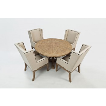 Pacific Heights Round Table and Four Side Chairs- Bisque