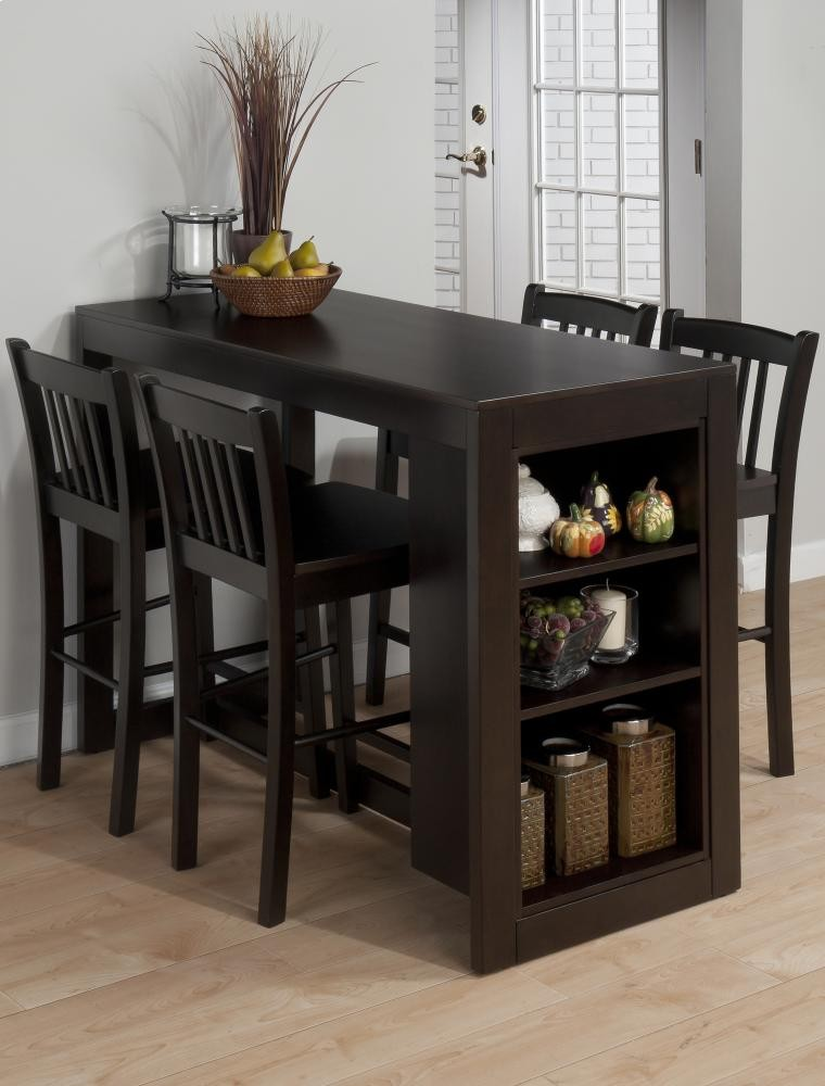 Maryland Merlot Counter Height Storage Table With Two Slat Back Stools
