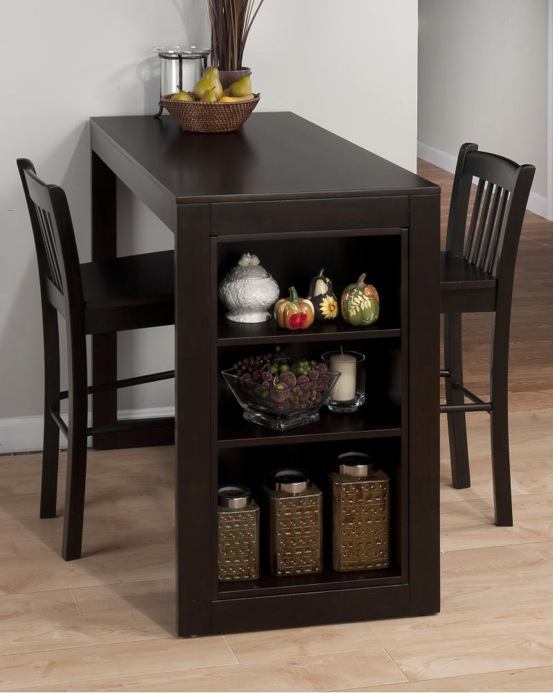 Maryland Merlot Counter Height Storage Table With Two Slat