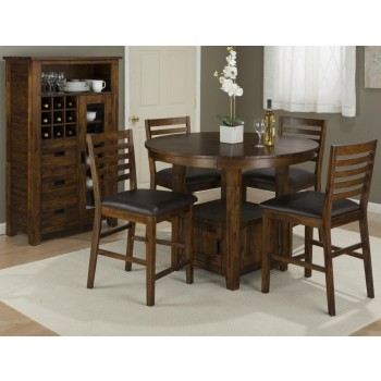 Coolidge Corner Counter Height Storage Table With Four Stools ...