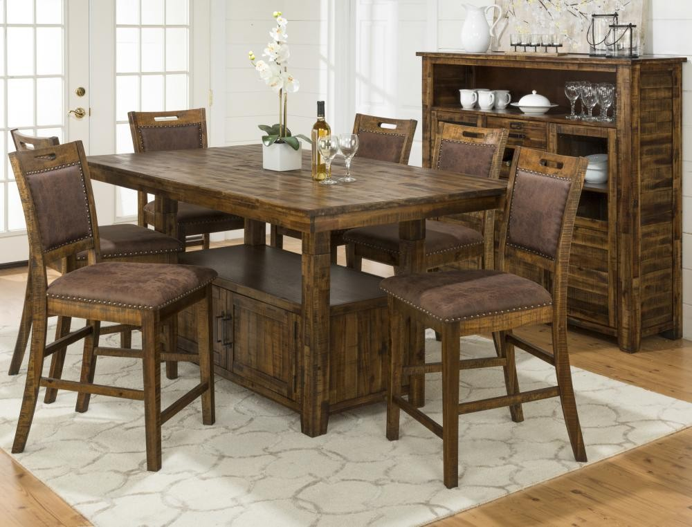 Cannon Valley Counter Height Storage Table With Four Stools