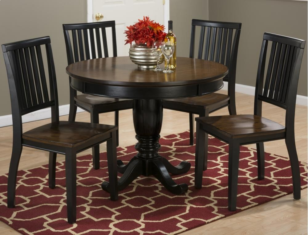 "antique round dining room table | Braden Antique Black 42"" Round Pedestal Dining Table With ..."