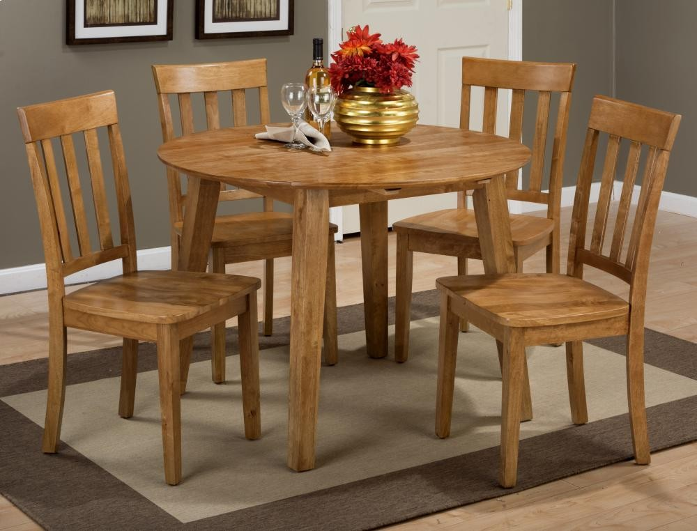 Simplicity Honey Drop Leaf Table With Four Slat Back Dining Chairs