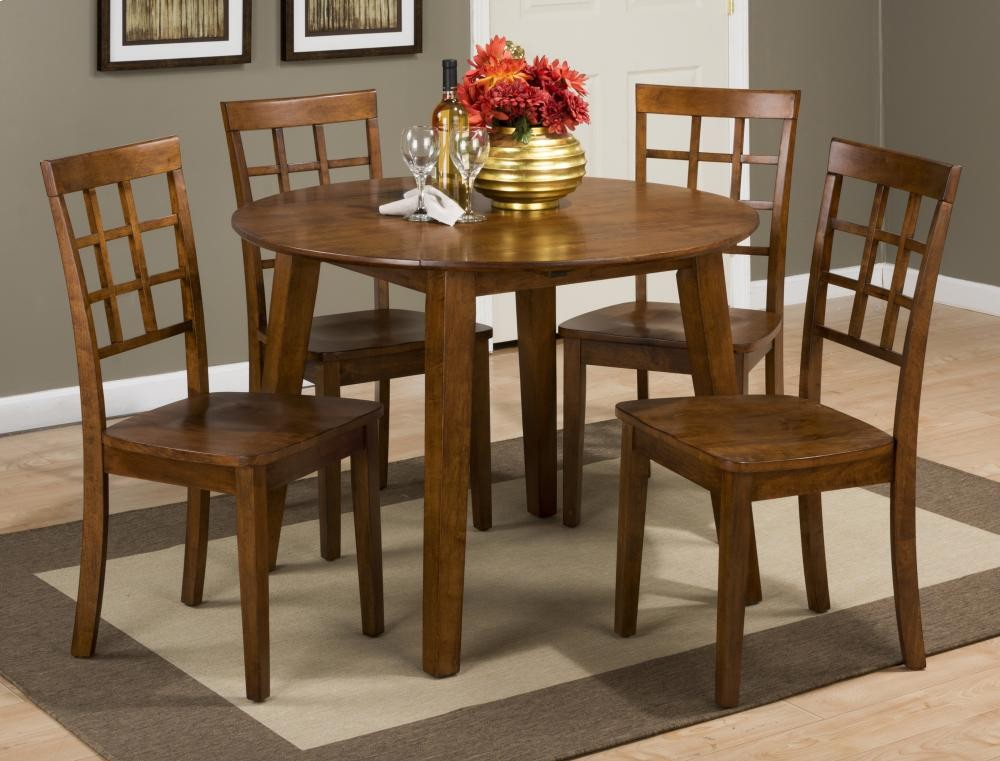 Simple Elegant Simplicity Caramel Drop Leaf Dining Table With Four Grid Back Dining Chairs New Design - Contemporary brown dining chairs Modern