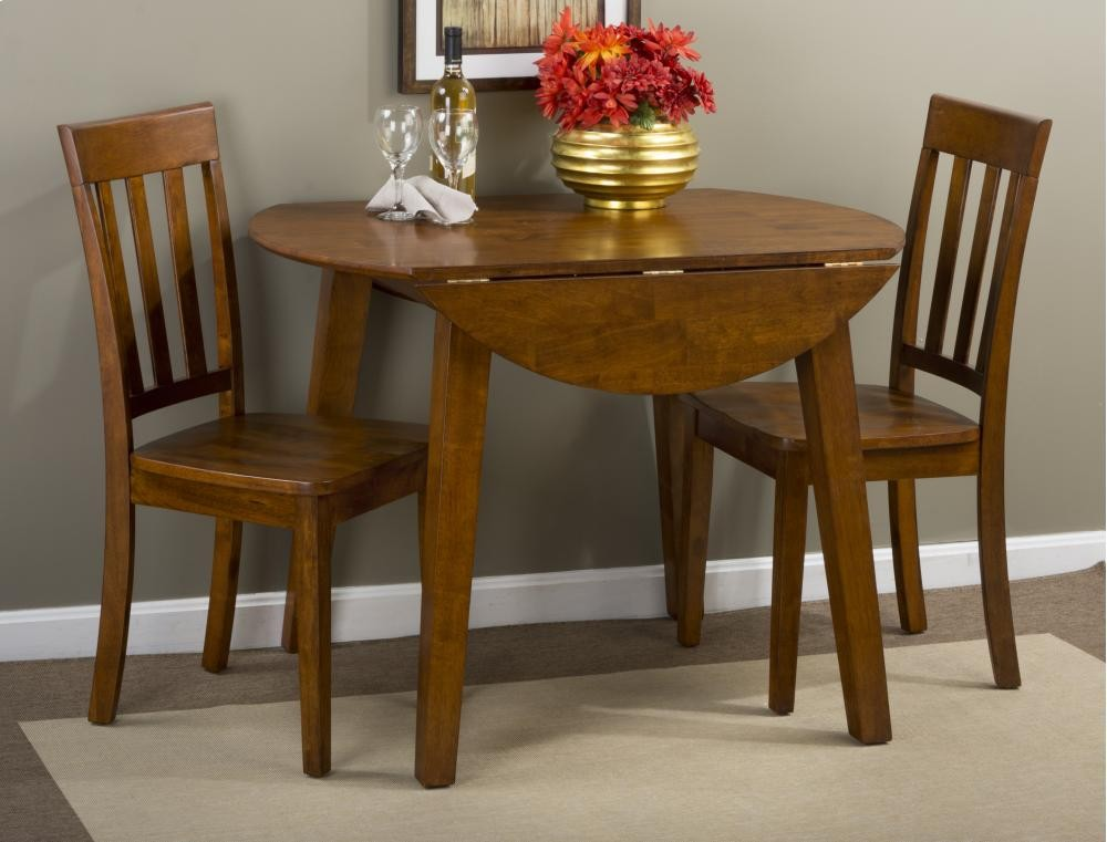 Simplicity Caramel Drop Leaf Dining Table With Four Slat Back Dining Chairs