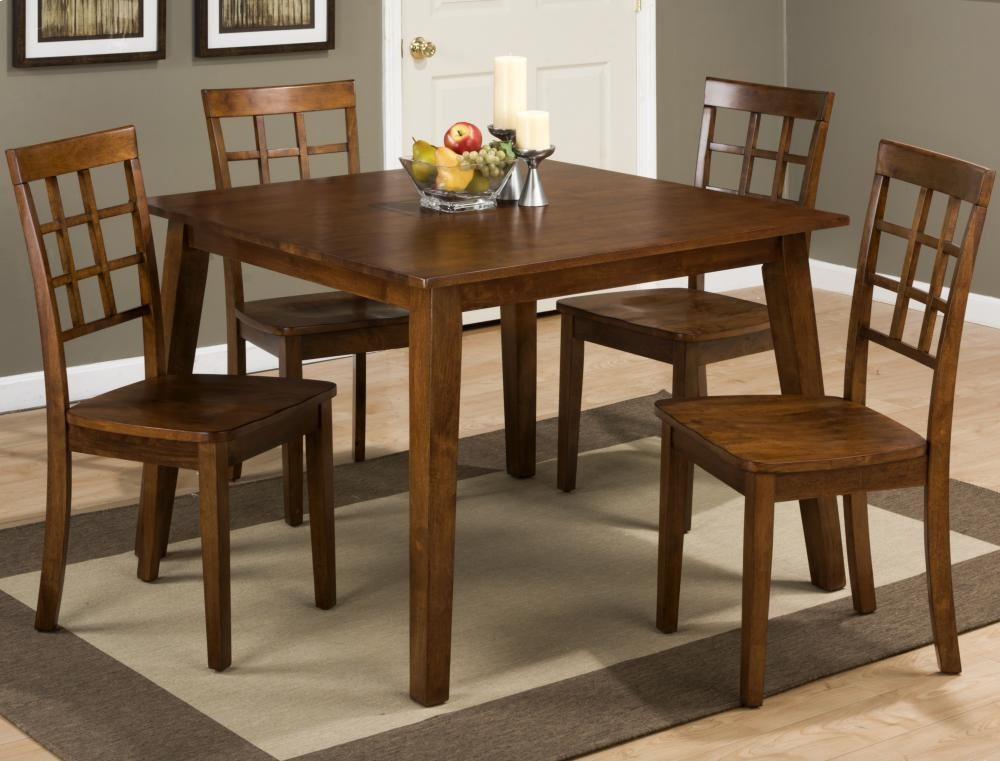 Beau Simplicity Caramel Square Dining Table With Four Grid Back Dining Chairs