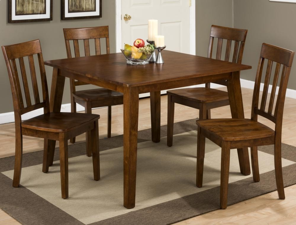 Simplicity Caramel Square Dining Table With Four Slat Back Dining Chairs