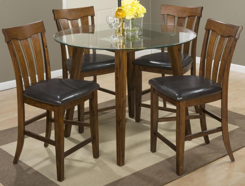 ... Glass Top Counter Height Table With Four Slat Back Stools. Plantation 48