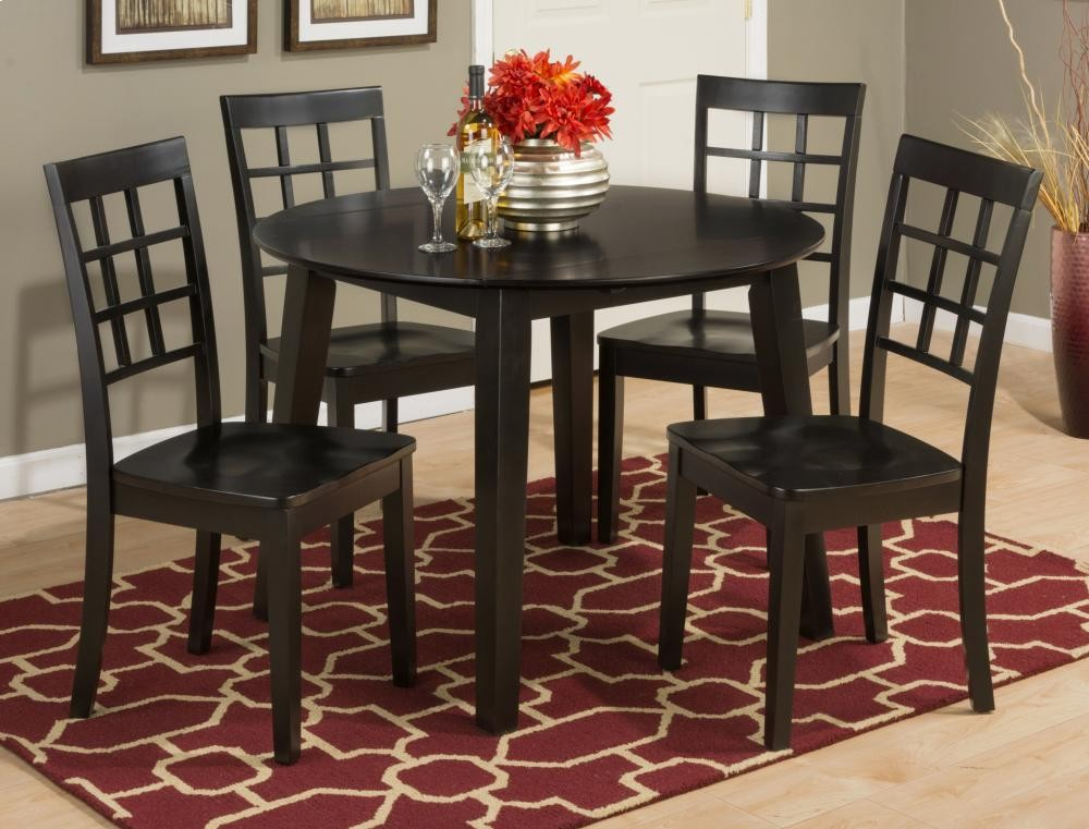 Simplicity Espresso Drop Leaf Dining Table With Four Grid Back - Dining room table for four