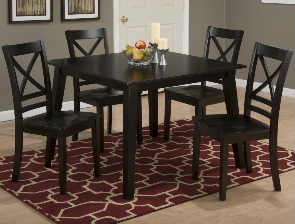Simplicity Espresso Square Dining Table With Four X Back Chairs