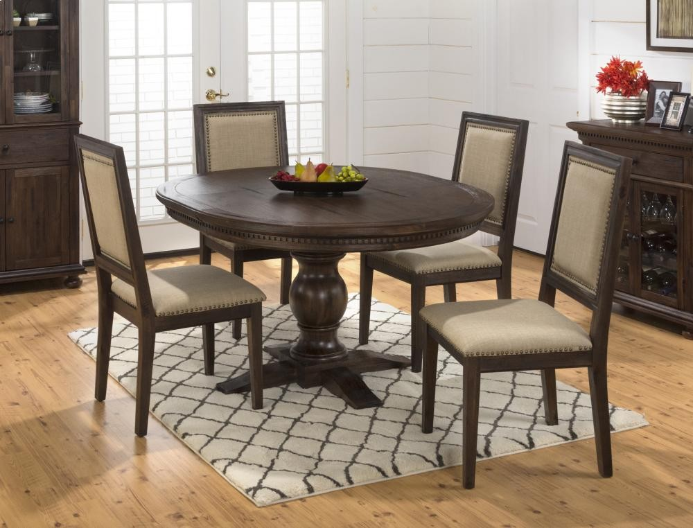 Geneva Hills Round To Oval Dining Table With Four Upholstered Side Chairs