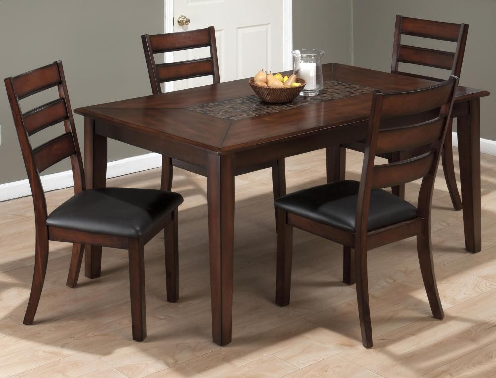 Baroque Brown Dining Table With Mosaic Tile Inlay And Four Slat Back Dining  Chairs
