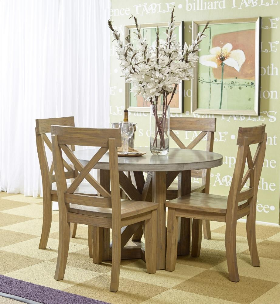 Boulder Ridge Round Concrete Dining Table With Four X Back Dining ...