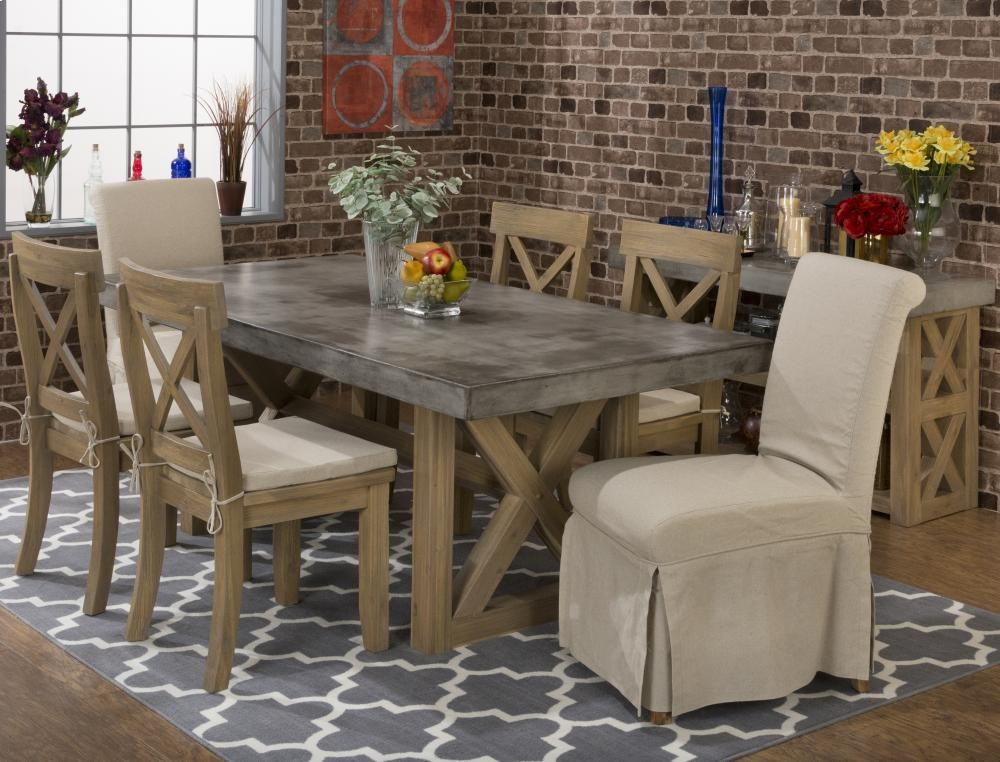 Boulder Ridge Rectangle Concrete Dining Table With Four X Back