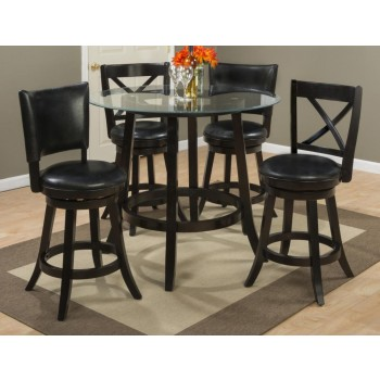 Aaron Glass Top Counter Height Table With Four Upholstered Back Swivel Stools