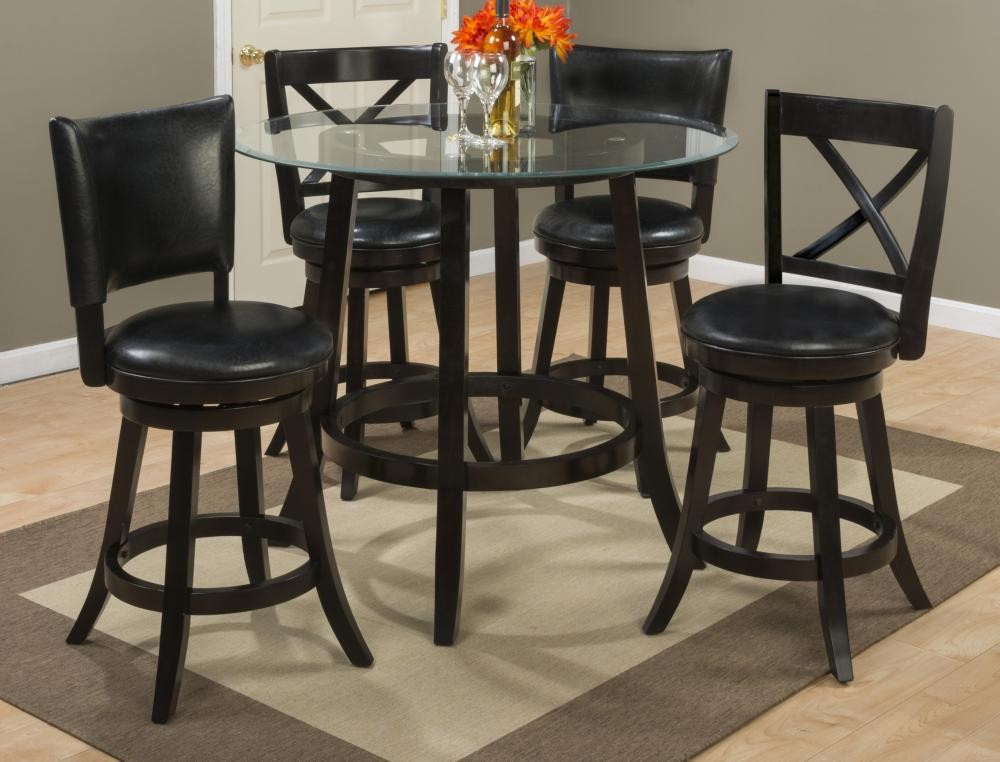 Aaron Glass Top Counter Height Table With Four X Back Swivel Stools