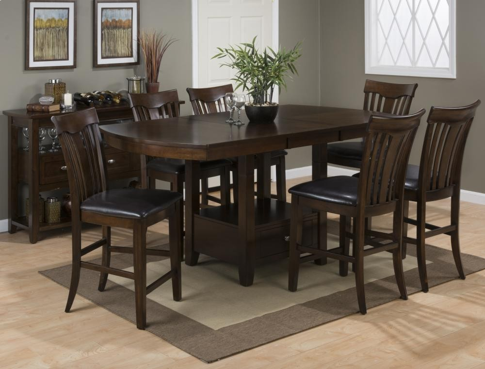 Dining Counter Height Table Top W Extension Leaf Storage