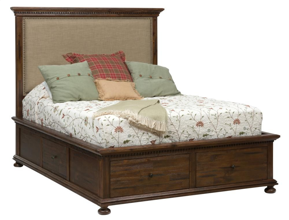 Geneva hills california king footboard with two drawers for Pruitts bedroom sets