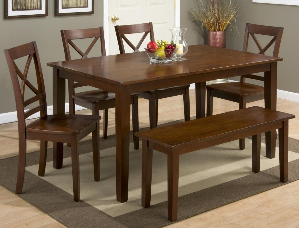 Simplicity Caramel Rectangle Dining Table With Four X Back Chairs And One Bench