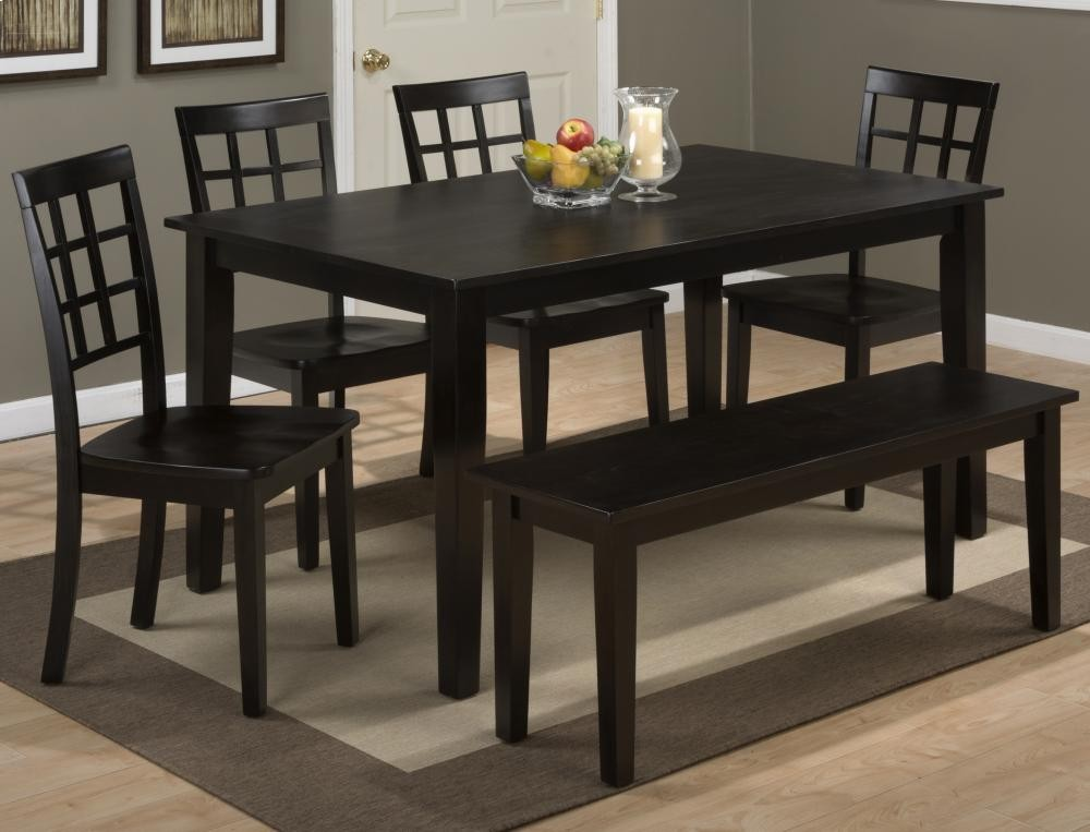 Simplicity Espresso Rectangle Dining Table With Four Grid Back Chairs And One Bench