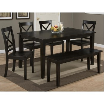 Simplicity Espresso Rectangle Dining Table With Four X Back Dining ...