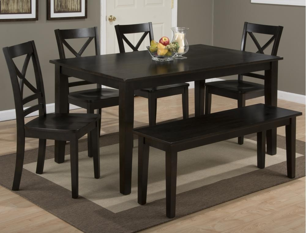 Simplicity Espresso Rectangle Dining Table With Four X Back Dining Chairs  And One Bench