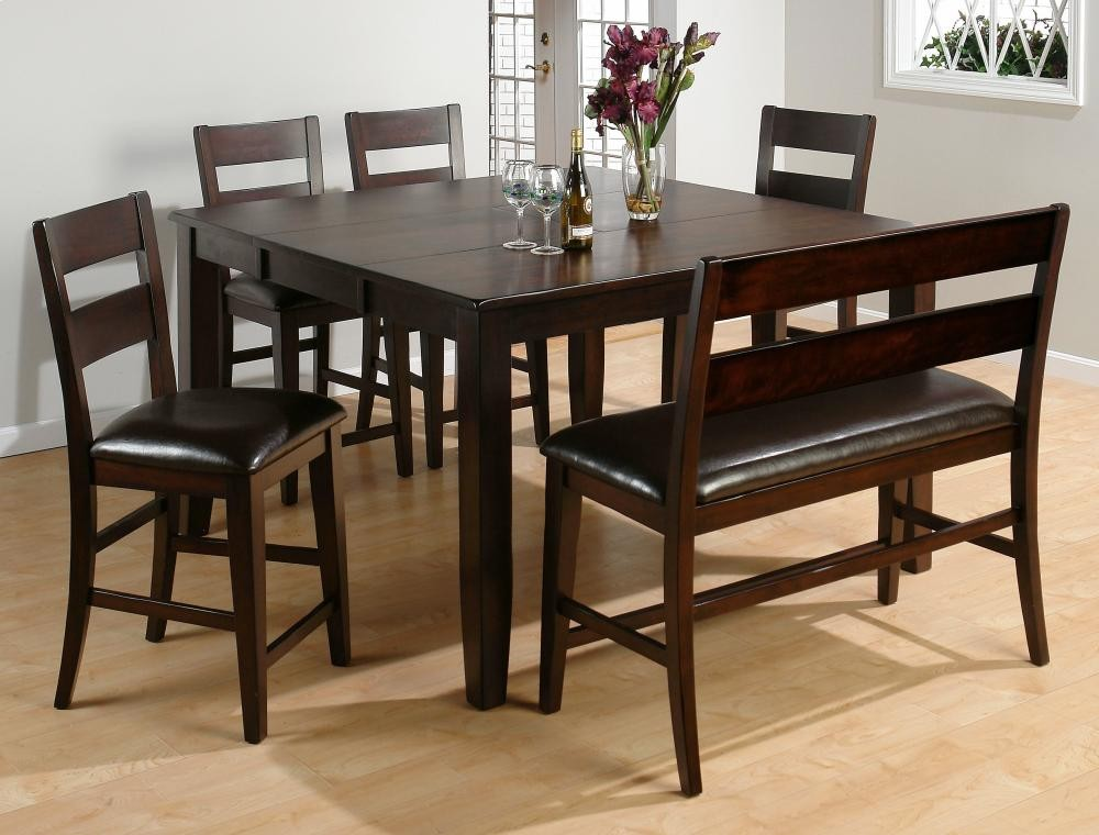 Dark Rustic Prairie Counter Height Table With Four Stools And One Bench